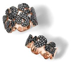 Anéis inspirados na padronagem do jaguar, em ouro rosa com diamantes negros e brancos