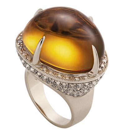 Anel ARVORECER de Ouro Nobre fosco com citrino e diamantes cognac