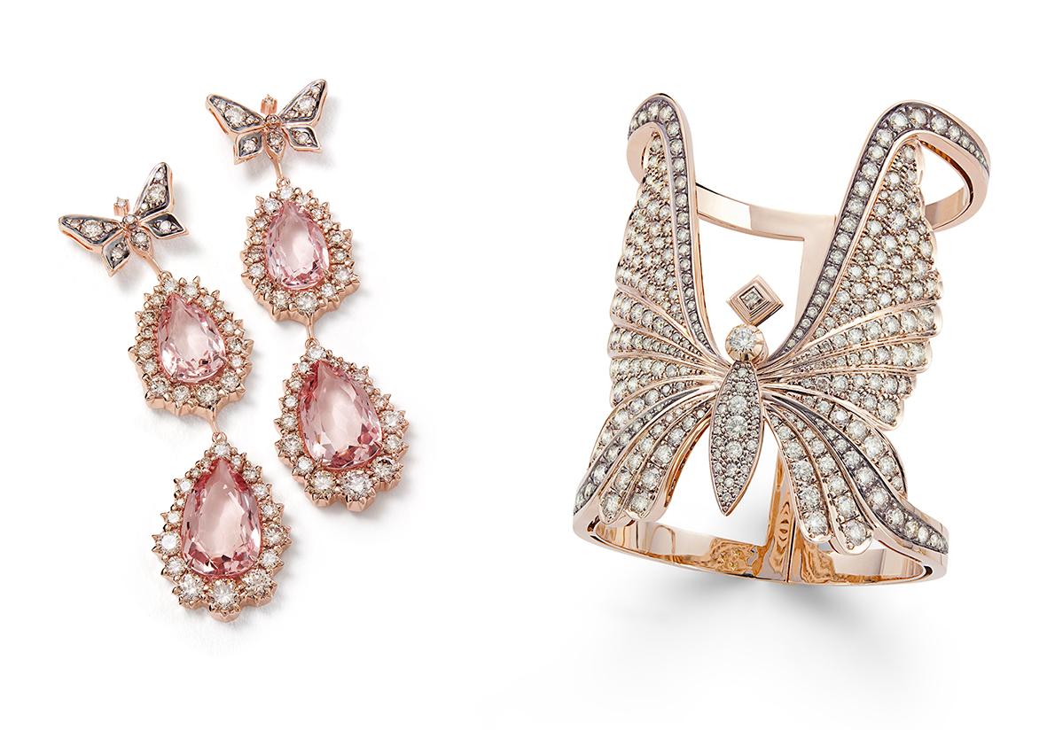 Brincos-ROCK-SPRING-de-ouro-rosé-com-morganitas-e-diamantes-cognac-(B0MG-200005)