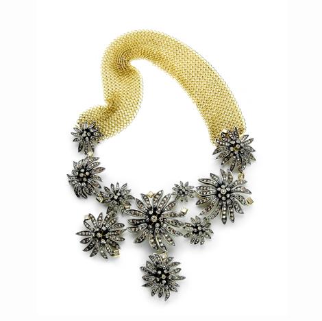 Colar Victorian de ouro amarelo e prata com diamantes