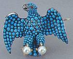 Eagle brooch with tourquoise and pearls - 1940