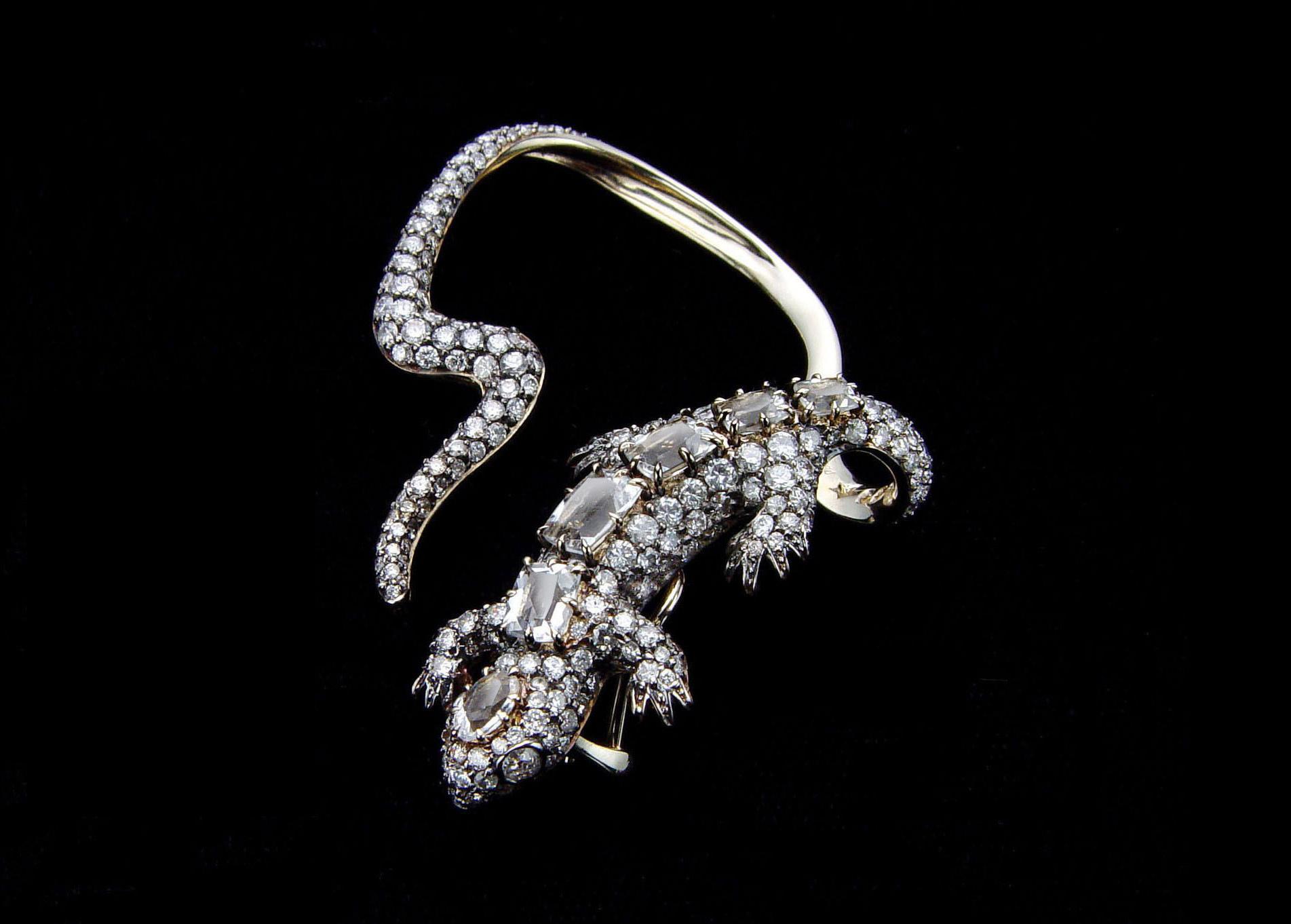 Brincos Lizard de Ouro Nobre com diamantes e cristais de rocha