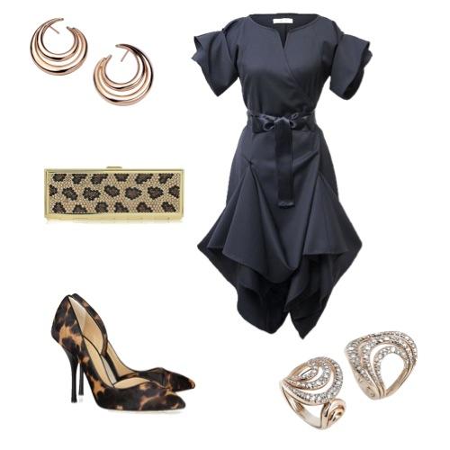 Vestido Jolier, sapatos Giuseppe Zanotti, bolsa Judith Leiber brincos e anéis Mya Maris