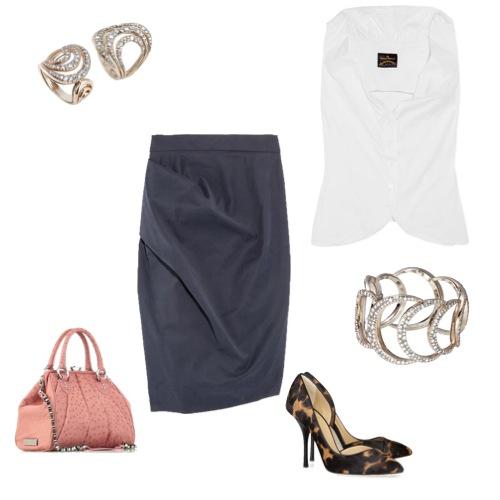 Saia e blusa Vivienne Westwood Anglomania, sapatos Giuseppe Zannotti, bolsa Natalia C.A. e brincos e pulseira Mya Maris