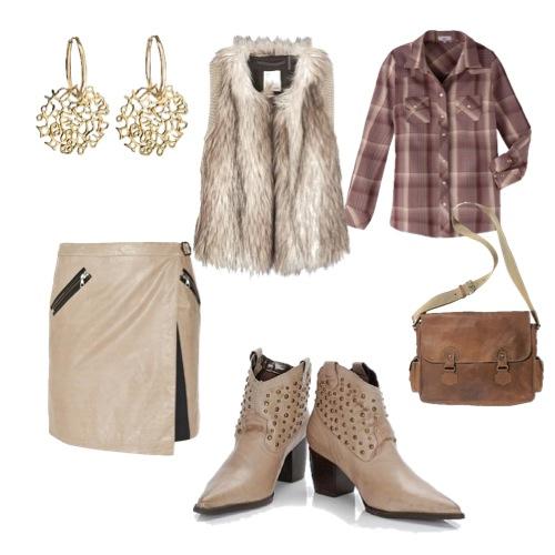 Saia de couro Rag & Bone, camisa xadrez da Têca, bota country da Botero, colete de pelo e uma bolsa carteiro e brincos MyCollection