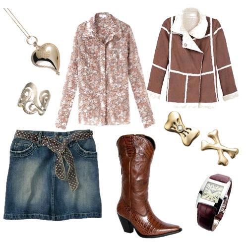 Camisa Têca, saia jeans Leka Salazar, bota estilo country da Marcia Hoffman, casaco da Maria Garcia e brincos MyCollection, anél Grupo Corpo, pendente DVF e relógio Form
