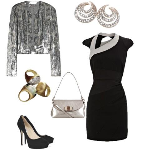Vestido Karen Millen, casaqueto Stella McCartney, bolsa Chloé, scarpin Jimmy Choo, brincos Mya Maris e anéis Pedras Roladas