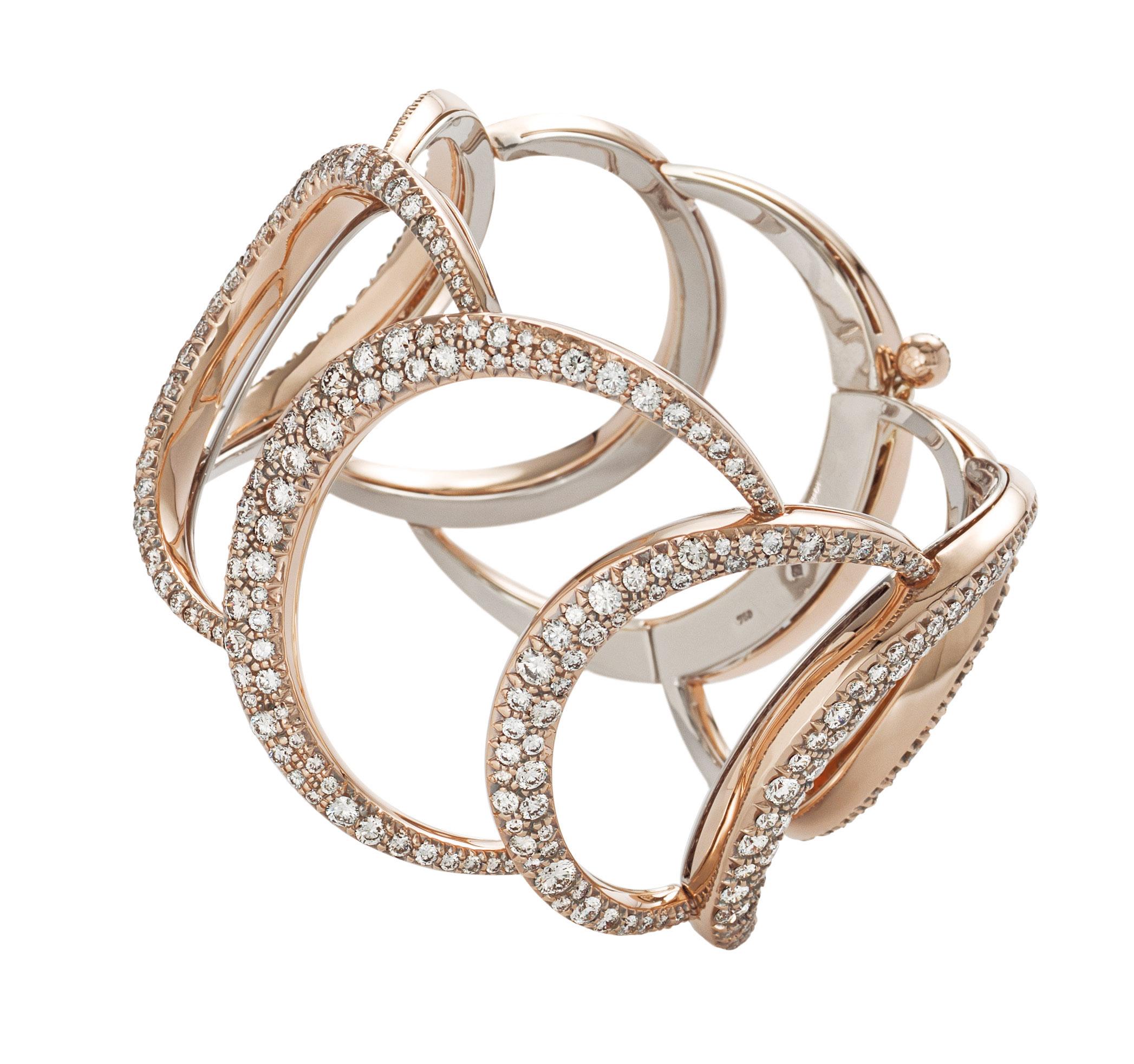 Pulseira Mya Maris de Ouro Nobre na parte interna e ouro rosé com diamantes na parte externa