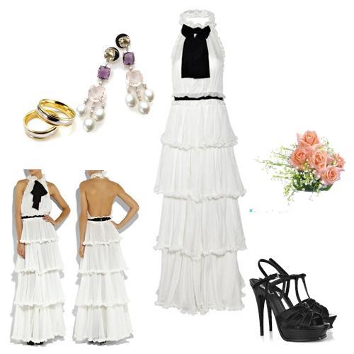 Que tal um vestido de noiva com detalhe preto?