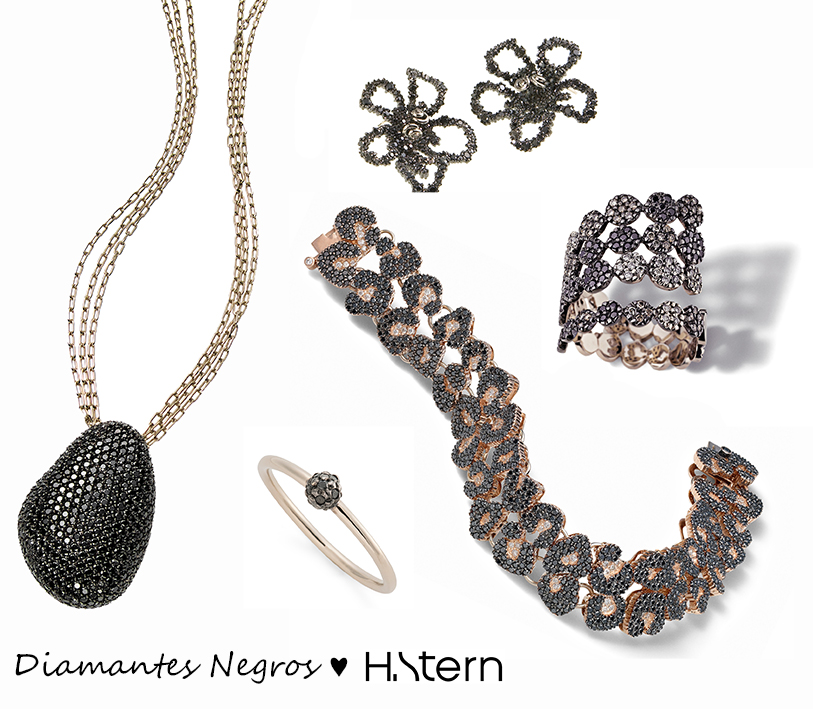 Em sentido horário: pendente Pedras Roladas, brincos Yu Gardens, anel e pulseira Ancient America e anel My Collection