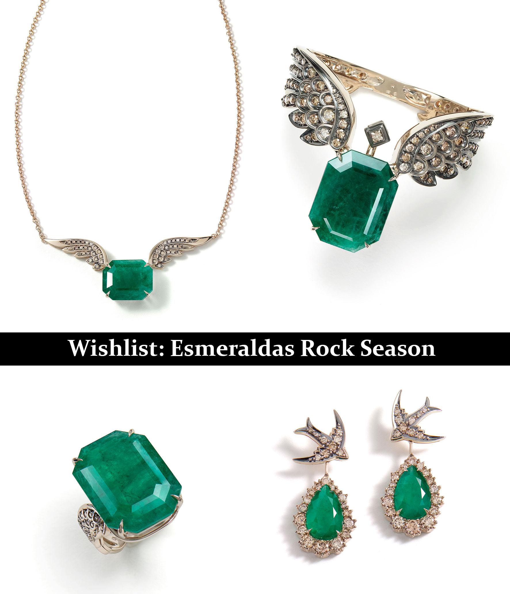 Em sentido horário: pendente, bracelete, brincos e anel Rock Fall de Ouro Nobre com esmeraldas e diamantes cognac